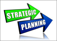 strategic planning - text in 3d color arrows, business concept